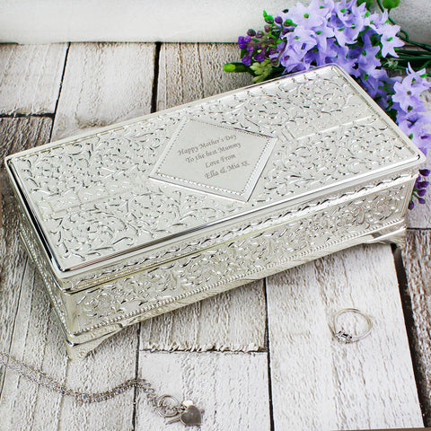Personalised Antique Silver Plated Jewellery Box Gift