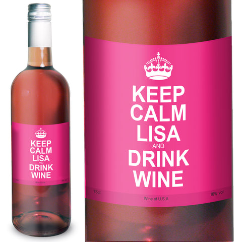 Personalised Keep Calm Rose Wine Gift