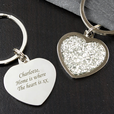 Personalised Diamante Heart Keyring Gift
