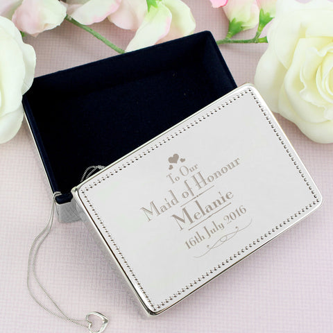 Personalised Decorative Wedding Maid of Honour Jewellery Box Gift