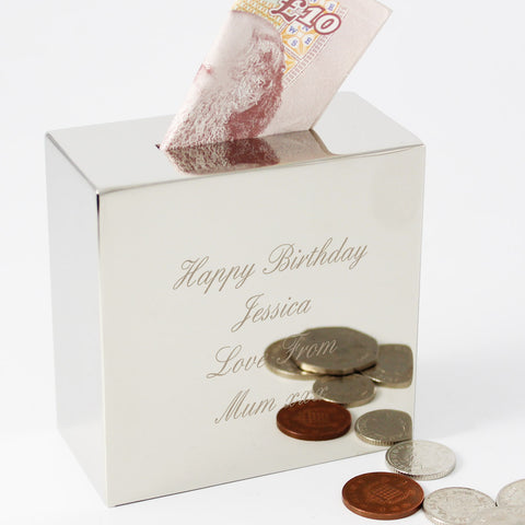 Personalised Square Money Box Gift