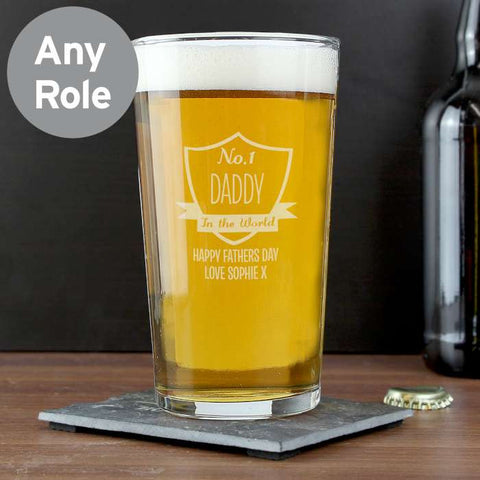 Personalised No. 1 Shield Pint Glass