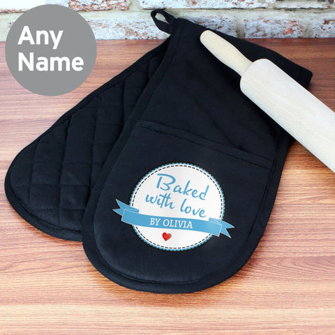 Personalised Baked with Love Oven Gloves