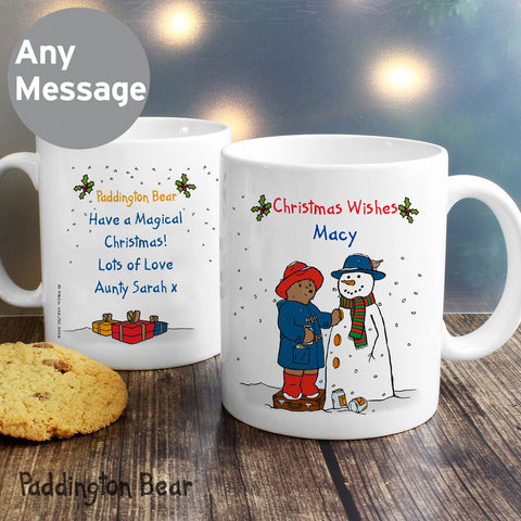 Personalised Paddington Bear Christmas Snowman Mug