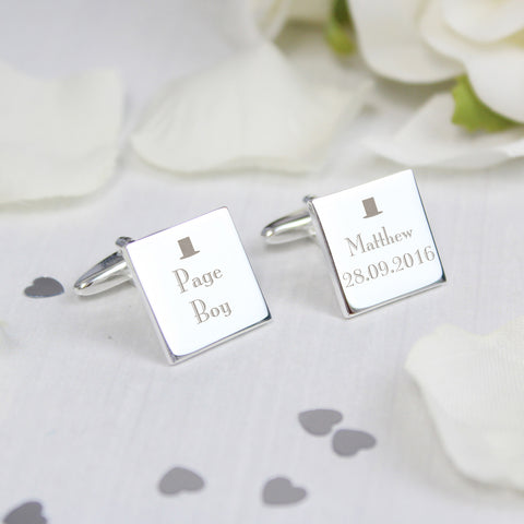 Personalised Page Boy Square Cufflinks