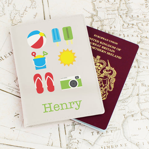Personalised Bright Travel Passport Cover Cream