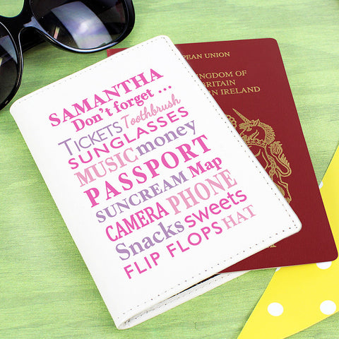 Personalised Don't Forget Passport Cover Cream