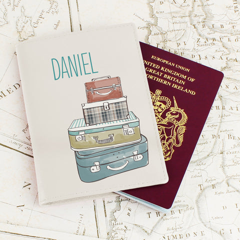 Personalised Suitcases Passport Cover Cream
