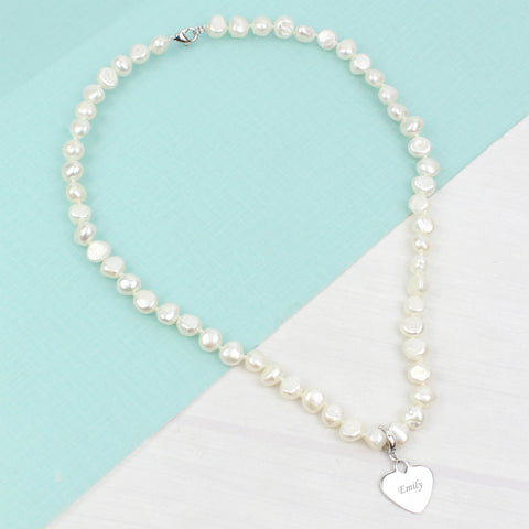 Personalised White Freshwater Pearl Name Necklace Gift