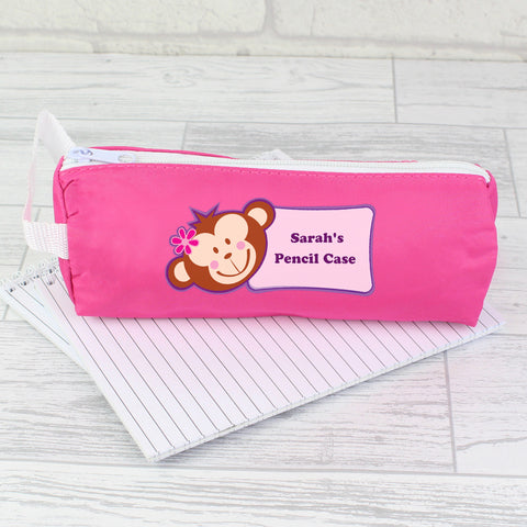 Personalised Pink Monkey Girl Pencil Case Gift