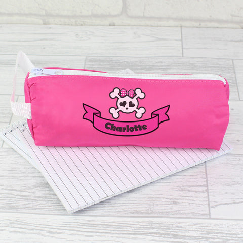 Personalised Pink Girls Skull and Cross Bone Pencil Case Gift