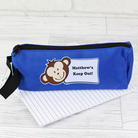 Personalised Blue Monkey Boy Pencil Case Gift