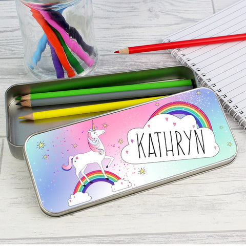 Personalised Unicorn Pencil Tin with Colouring Pencils