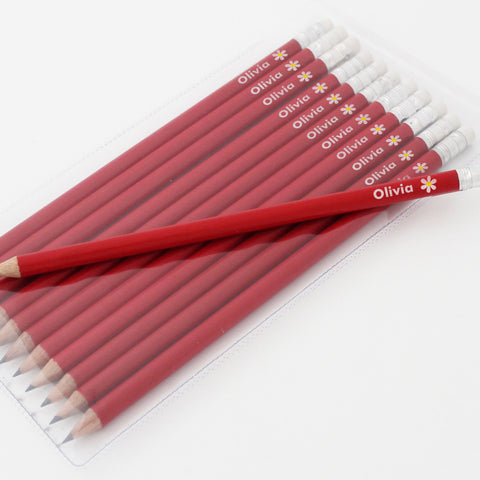 Personalised Flower Motif Red Pencils Gift