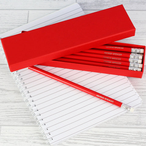 Personalised Box of Red Pencils Gift