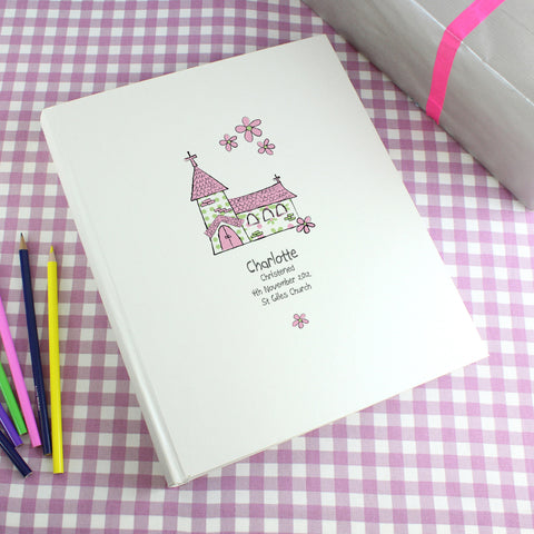 Personalised Whimsical Church Pink Traditional Photo Album