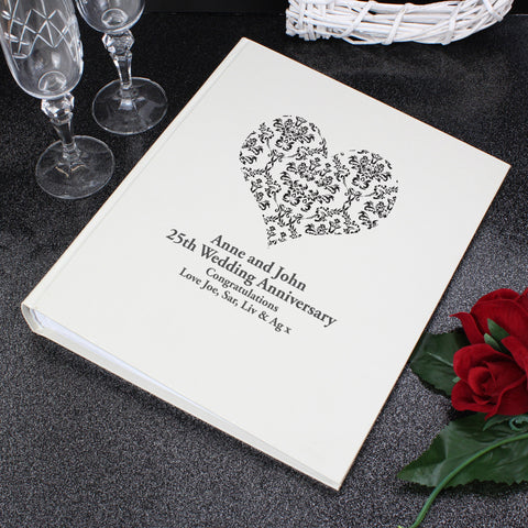 Personalised Black Damask Heart Traditional Album Gift