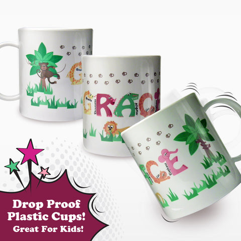 Personalised Animal Alphabet Plastic Cup Girls Gift