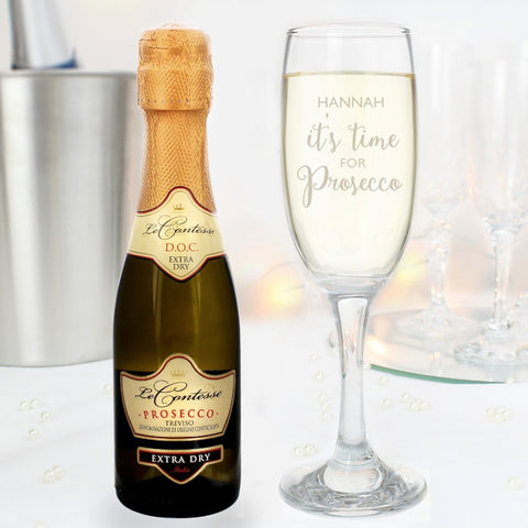 Personalised It's Time for Prosecco Flute and Mini Prosecco Gift