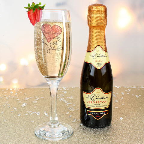 Personalised Love Heart Flute and Mini Prosecco Gift Set
