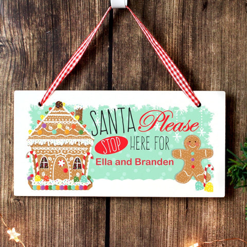 Personalised Gingerbread House Santa Stop Here Sign