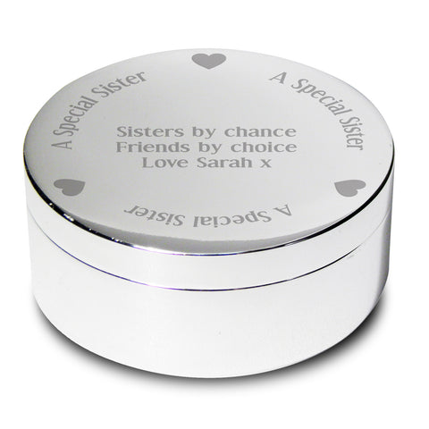Personalised A Special Sister Round Trinket Box Gift
