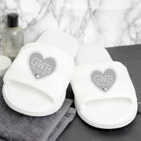 Personalised Grey Heart Initials Velour Slippers