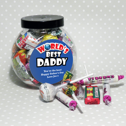 Personalised Blue World's Best Sweet Jar Gift