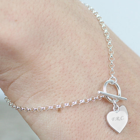 Personalised Hearts T-Bar Bracelet Gift