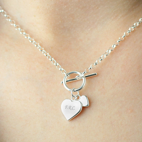 Personalised Hearts T-Bar Necklace Gift