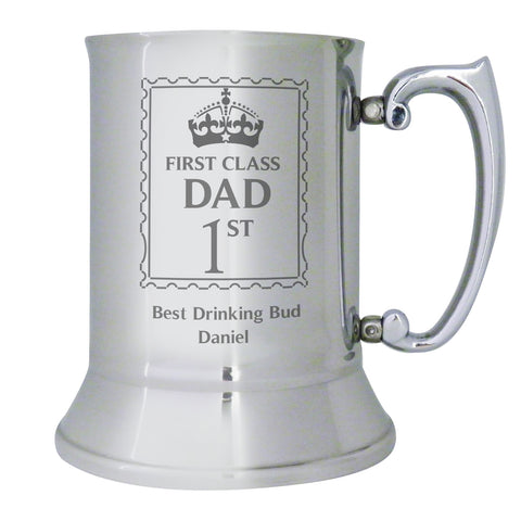 Personalised 1st Class Stainless Steel Tankard Gift