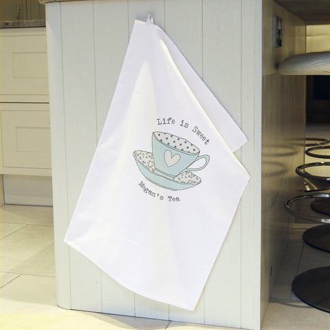 Personalised Vintage Tea Cup Tea Towel