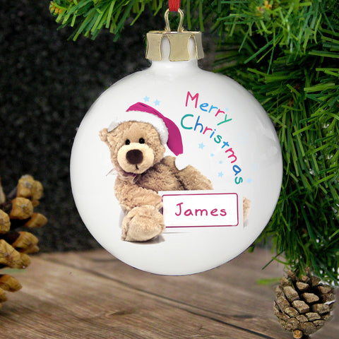 Personalised Teddy Christmas Bauble Gift