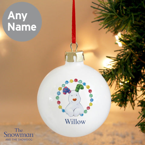 Personalised The Snowdog Christmas Bauble