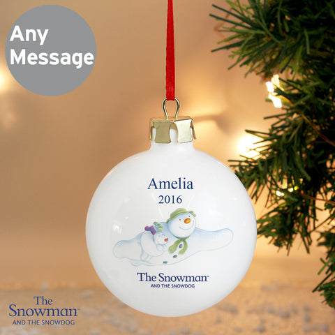 Personalised The Snowman and The Snowdog Flying Christmas Bauble
