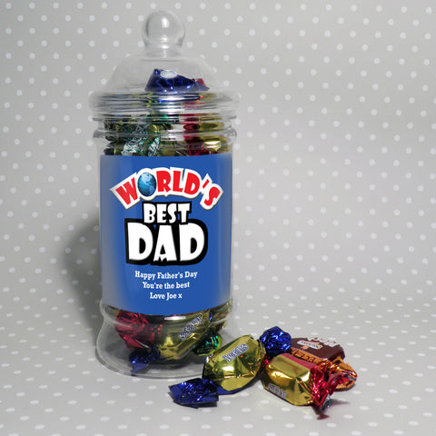 Personalised Blue World's Best Toffee Jar Gift