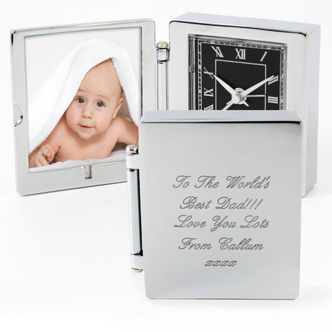 Personalised Photo Frame Travel Clock Gift