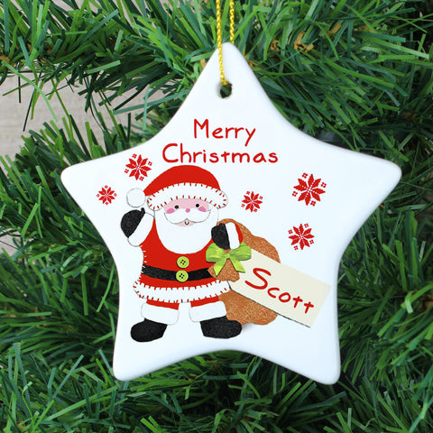 Personalised Felt Stitch Santa Ceramic Star Decoration Gift