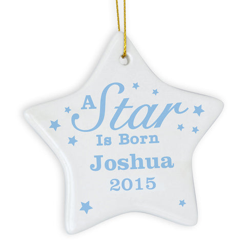 Personalised Blue A Star Is Born Ceramic Star Decoration Gift