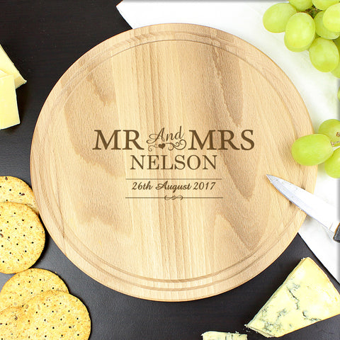 Personalised Mr and Mrs Round Chopping Board Gift