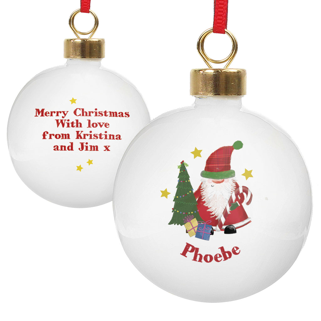Personalised Tartan Santa Christmas Bauble  Xmas Baubles  Vivabop
