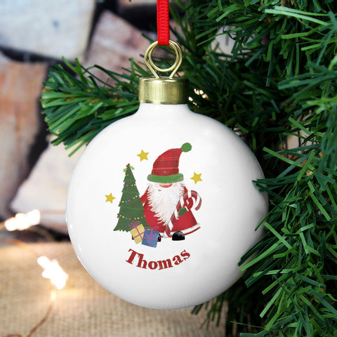 Personalised Tartan Santa Christmas Bauble