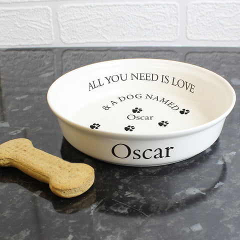 Personalised All You Need Is Love Dog Bowl in White