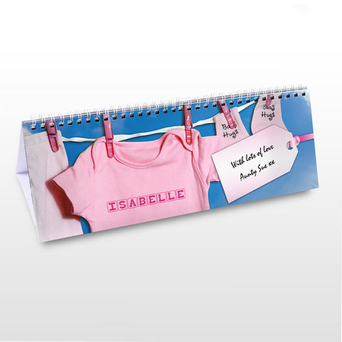 Personalised Baby Girl Desk Calendar Gift