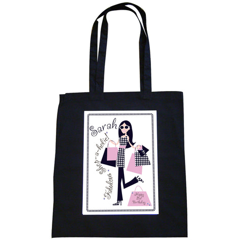 Personalised Fabulous Shopaholic Black Bag