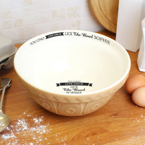 Personalised You Only Live Once Baking Bowl
