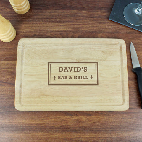 Personalised Bar and Grill Wooden Chopping Board