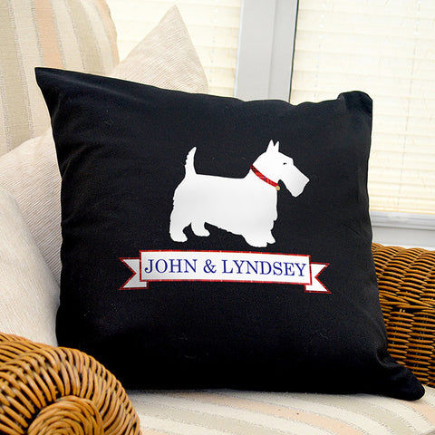 Personalised Black Cushion Cover Scotty Dog