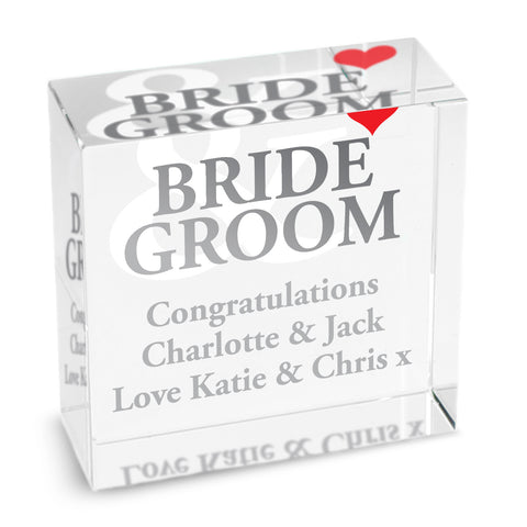 Personalised Bride and Groom Medium Crystal Token Gift