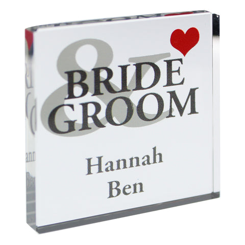 Personalised Bride and Groom Small Crystal Token Gift